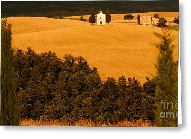 Landscape Framed Prints Greeting Cards - Tuscan Chapel In Gold Greeting Card by John Tsumas