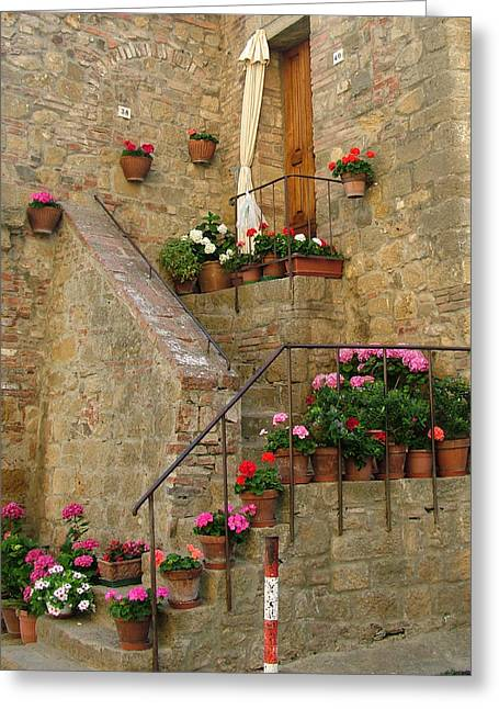Recently Sold -  - Stepping Stones Greeting Cards - Tuscan Cottage Greeting Card by Donna Corless