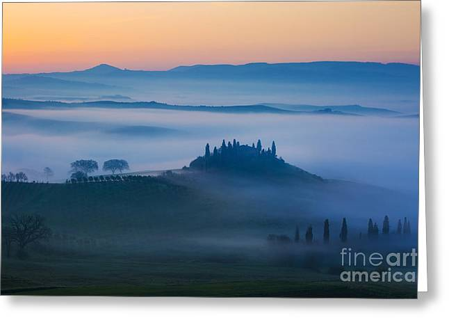Tuscan Hills Greeting Cards - Tuscan Dawn Greeting Card by Brian Jannsen