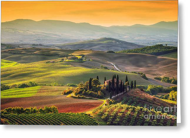 Tuscan Farm House, Vineyard, Hills Greeting Card by Michal Bednarek