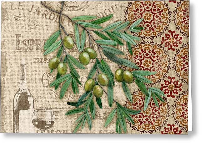 Tuscan Green Olives Greeting Card by Paul Brent