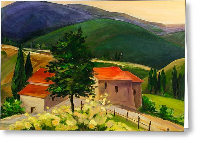 Italian Sunset Greeting Cards - Tuscan hills Greeting Card by Elise Palmigiani