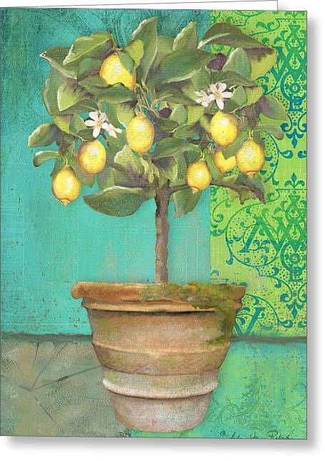 Lemon Art Greeting Cards - Tuscan Lemon Topiary - Damask Pattern 1 Greeting Card by Audrey Jeanne Roberts