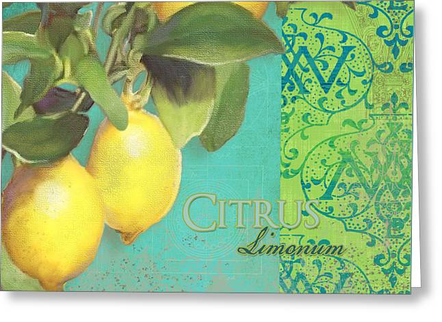 Italian Tuscan Greeting Cards - Tuscan Lemon Tree - Citrus Limonum Damask Greeting Card by Audrey Jeanne Roberts