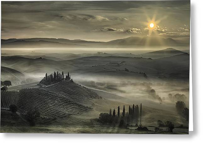 Siena Italy Greeting Cards - Tuscan Morning Greeting Card by Christian Schweiger