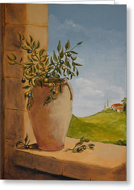 Yvonne Ayoub Greeting Cards - Tuscan Olives Greeting Card by Yvonne Ayoub