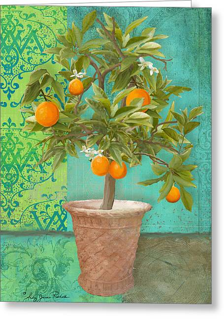 Tuscan Orange Topiary - Damask Pattern 2 Greeting Card by Audrey Jeanne Roberts