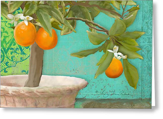 Tuscan Orange Topiary - Damask Pattern 3 Greeting Card by Audrey Jeanne Roberts