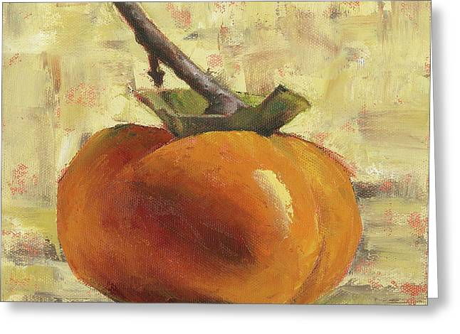 Still Life Glass Greeting Cards - Tuscan Persimmon Greeting Card by Pam Talley