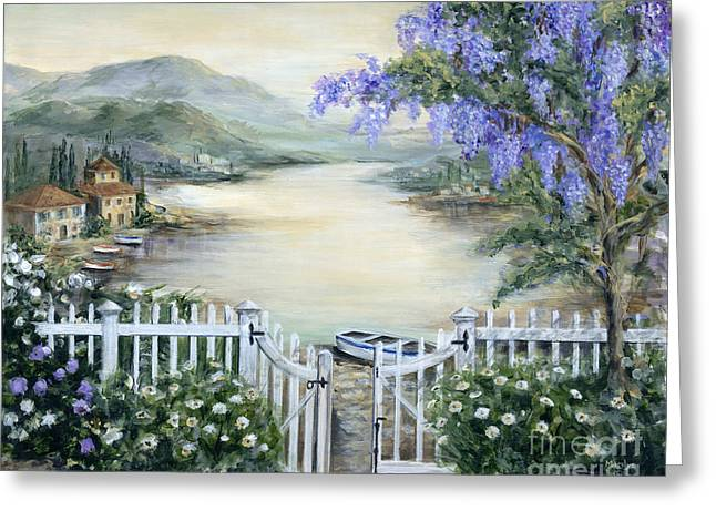 Tuscan Pond And Wisteria Greeting Card by Marilyn Dunlap