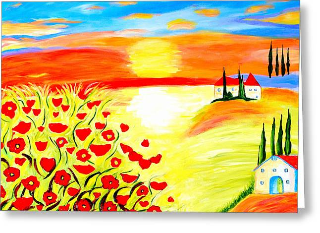 Tuscan Sunset Paintings Greeting Cards - Tuscan Poppies Greeting Card by Art by Danielle
