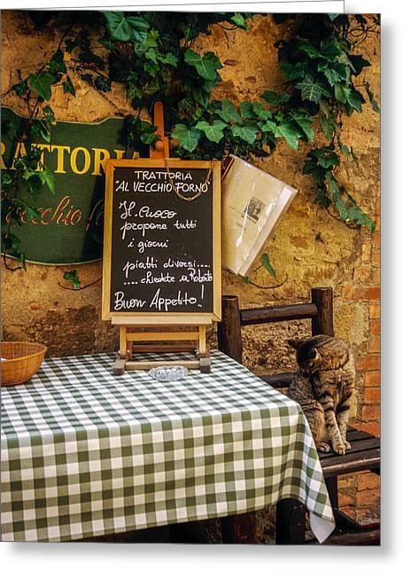 Trattoria Greeting Cards - Tuscan Restaurant Patron Greeting Card by Andrew Soundarajan