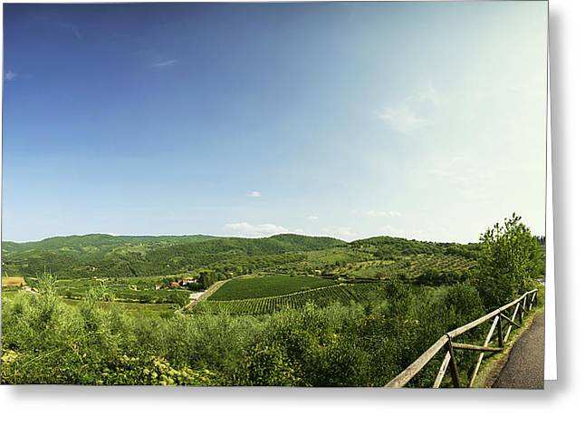 Blue Grapes Greeting Cards - Tuscan Roads Greeting Card by Devin Hultgren