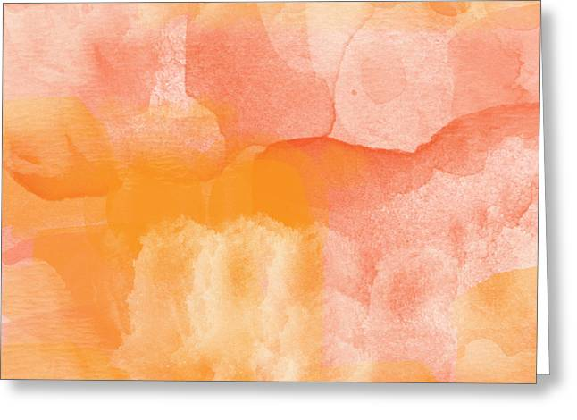 Orange Mixed Media Greeting Cards - Tuscan Rose- Abstract Watercolor Greeting Card by Linda Woods