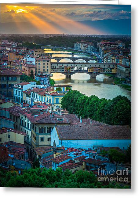 Tuscan Sunset Greeting Cards - Tuscan Sunbeams Greeting Card by Inge Johnsson