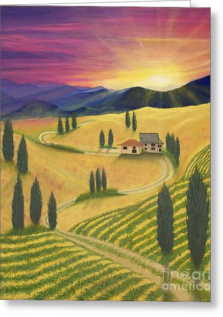 Italian Sunset Greeting Cards - Tuscan Sunset B Greeting Card by Cindy Lee Longhini