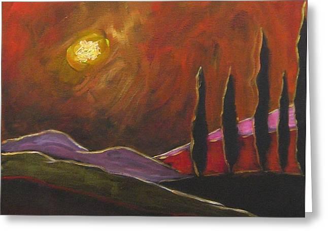 Tuscan Sunset Rage Greeting Card by ITALIAN ART
