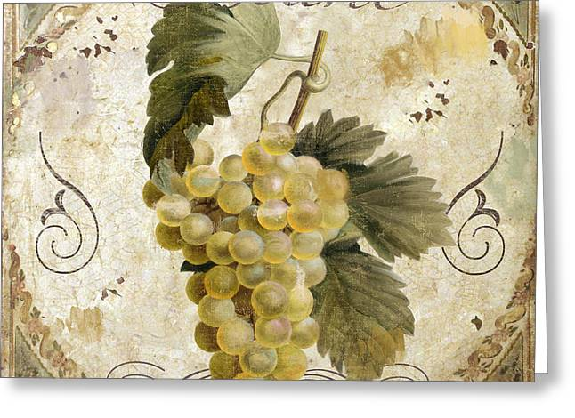 White Paintings Greeting Cards - Tuscan Table Blanc Wine Greeting Card by Mindy Sommers