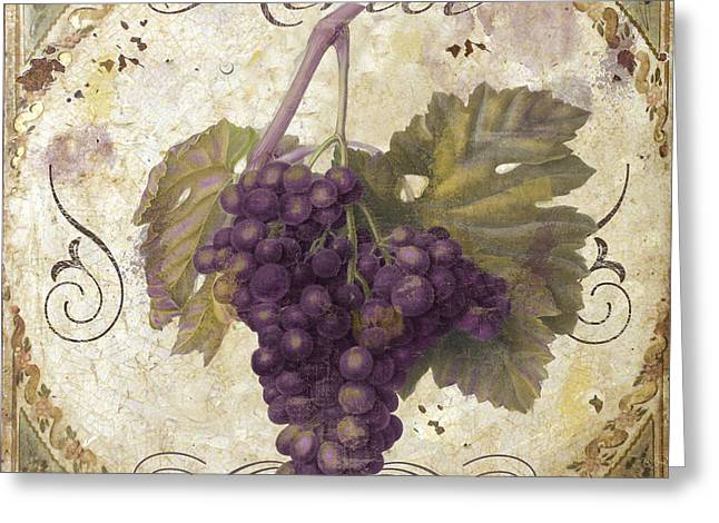 Pinot Paintings Greeting Cards - Tuscan Table Merlot Greeting Card by Mindy Sommers