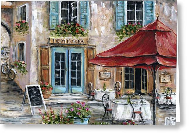 Tuscan Trattoria Square Greeting Card by Marilyn Dunlap
