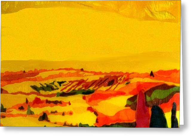 Tuscan view in Resin Greeting Card by Jason Allen