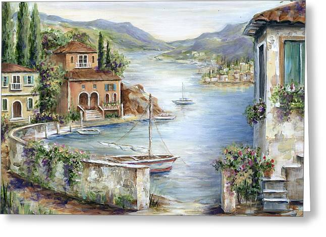 Tuscan Villas By The Sea II Greeting Card by Marilyn Dunlap
