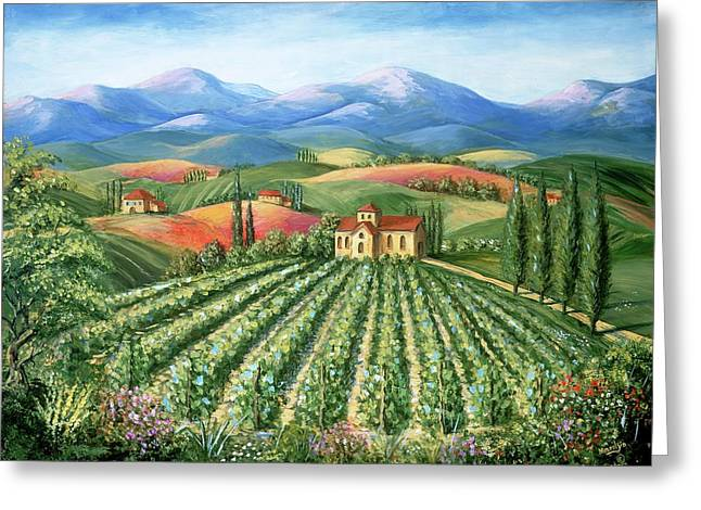 European Landscape Greeting Cards - Tuscan Vineyard and Abbey Greeting Card by Marilyn Dunlap