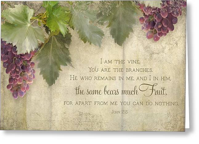 Grape Leaves Mixed Media Greeting Cards - Tuscan Vineyard - Rustic Wood Fence Scripture Greeting Card by Audrey Jeanne Roberts