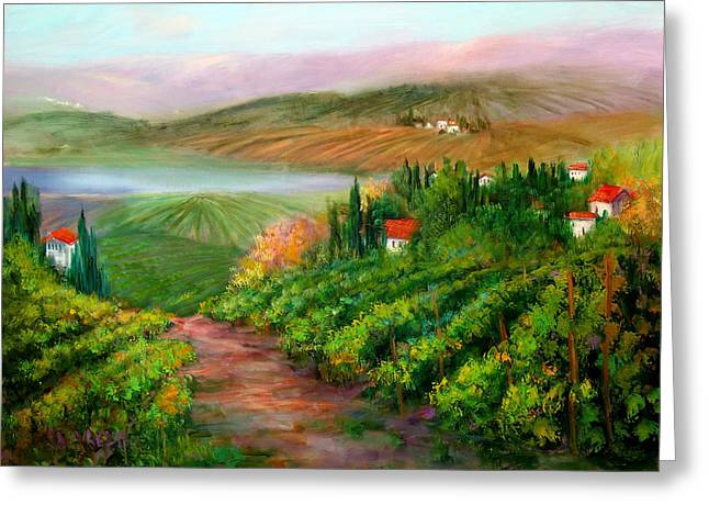 Pastoral Vineyard Paintings Greeting Cards - Tuscan Vista Greeting Card by Sally Seago