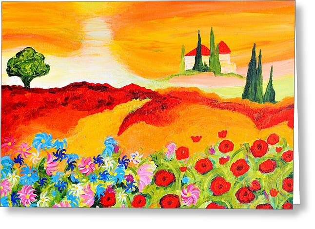 Tuscan Sunset Greeting Cards - Tuscan Wildflowers Greeting Card by Art by Danielle