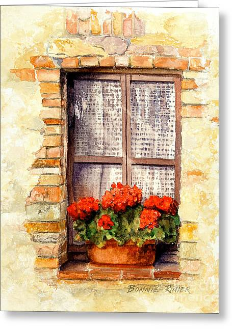 Lace Curtains Greeting Cards - Tuscan Window Greeting Card by Bonnie Rinier