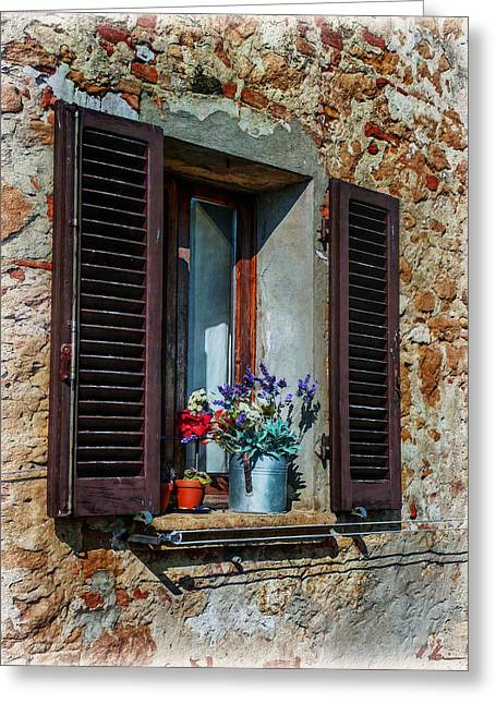 Fenster Photographs Greeting Cards - Tuscan Window Greeting Card by Hanny Heim