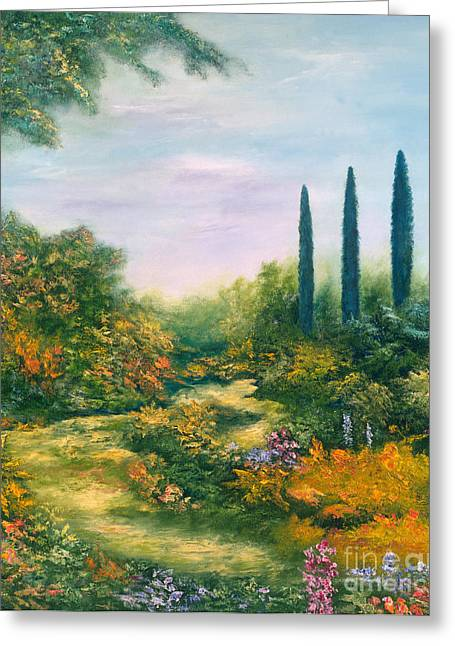 Nature Scene Paintings Greeting Cards - Tuscany Atmosphere Greeting Card by Hannibal Mane
