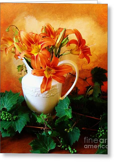 Wrapped Around Greeting Cards - Tuscany Bouquet Greeting Card by Marsha Heiken