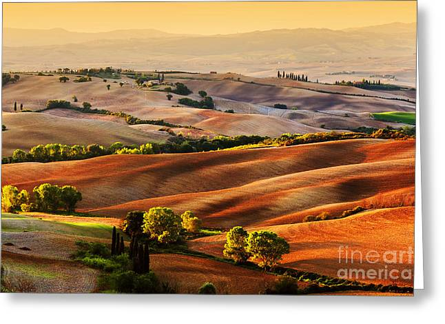 Tuscany Countryside Landscape At Sunrise Greeting Card by Michal Bednarek