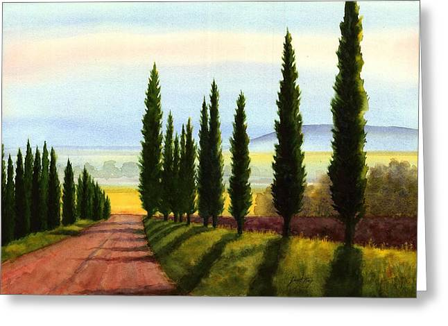 Tuscany Cypress Trees Greeting Card by Janet King