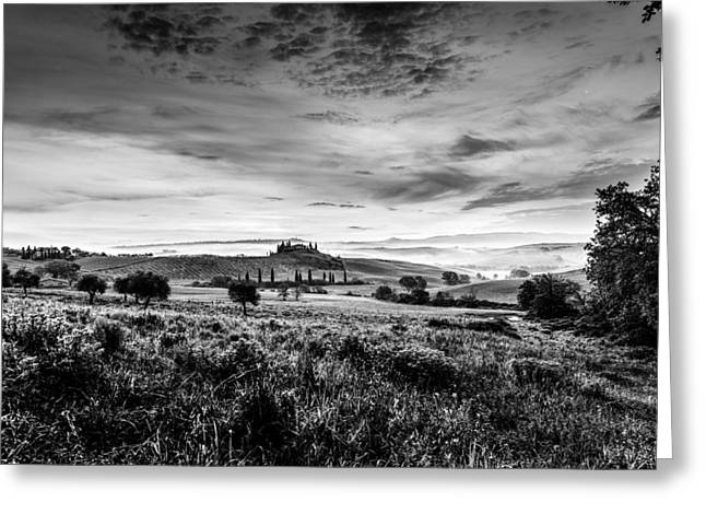 Tuscan Hills Greeting Cards - Tuscany in bw Greeting Card by Yuri Santin