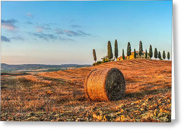 Italian Sunset Greeting Cards - Tuscany landscape with farm house at sunset, Val dOrcia, Italy Greeting Card by JR Photography