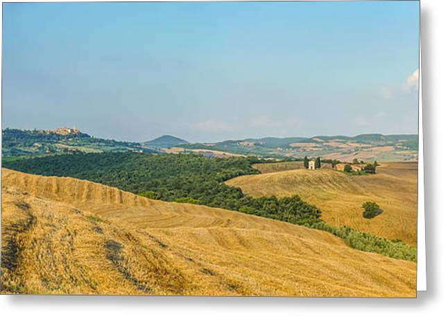 Tuscan Sunset Greeting Cards - Tuscany landscape with rolling hills at sunset, Val dOrcia, Ita Greeting Card by JR Photography
