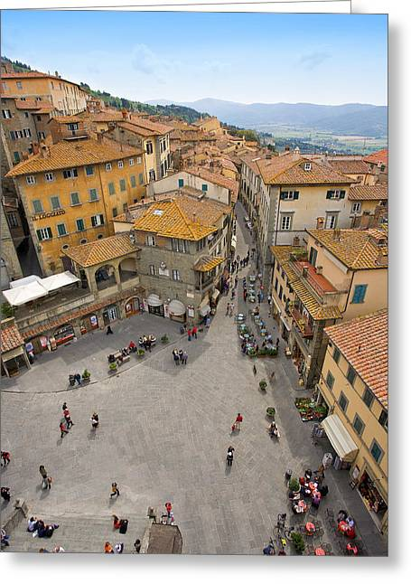 Hilltown Greeting Cards - Tuscany Piazza Cortona Greeting Card by Al Hurley