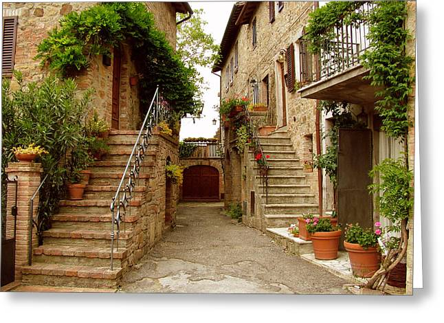 Tuscany Stairways Greeting Card by Donna Corless