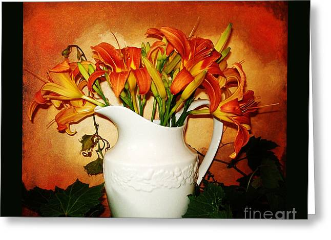 Flower Still Life Prints Digital Art Greeting Cards - Tuscany Tigerlilies Greeting Card by Marsha Heiken