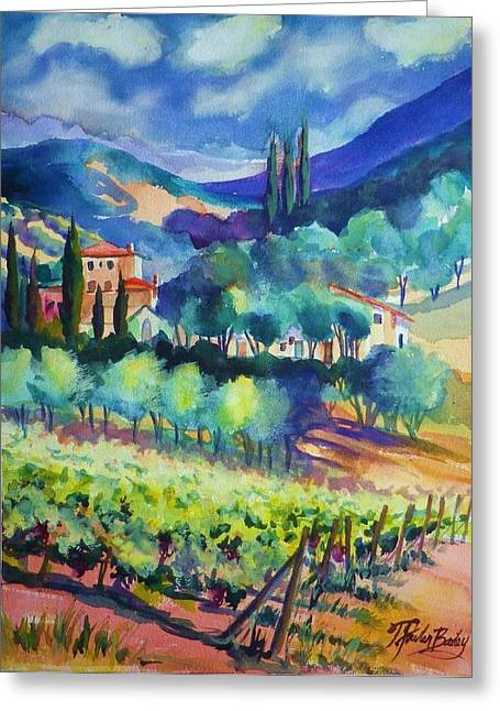Therese Fowler-bailey Greeting Cards - Tuscany Vineyard Blues Greeting Card by Therese Fowler-Bailey