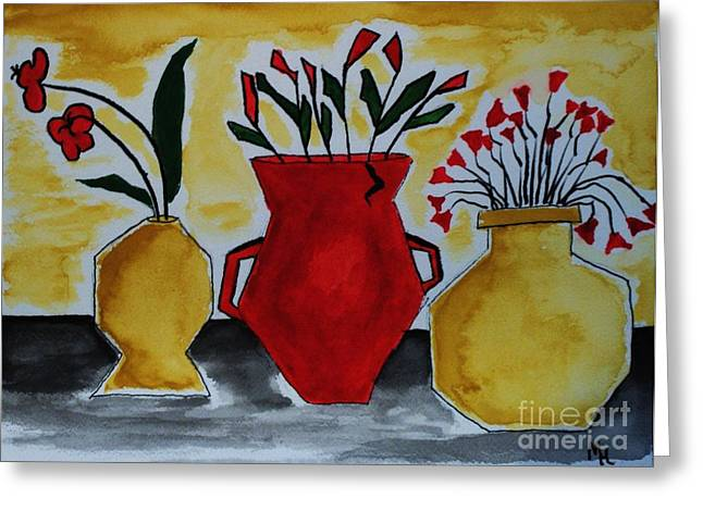 Abstract Vase Flower Print Greeting Cards - Tuscany Whimsey Flower Pots Greeting Card by Marsha Heiken