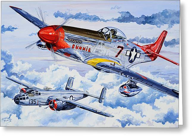 Military Planes Greeting Cards - Tuskegee Airman Greeting Card by Charles Taylor