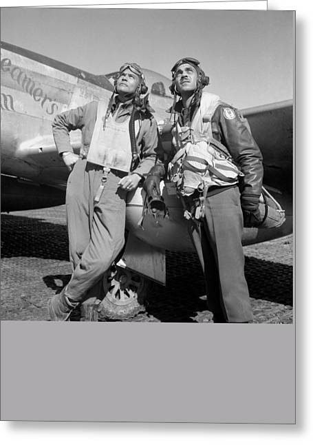 World War 2 Airmen Greeting Cards - Tuskegee Airmen Greeting Card by War Is Hell Store