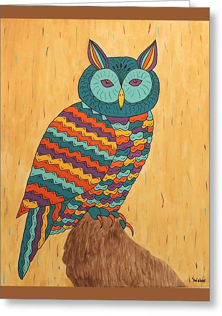Susie Weber Greeting Cards - Tutie Fruitie Hootie Owl Greeting Card by Susie WEBER