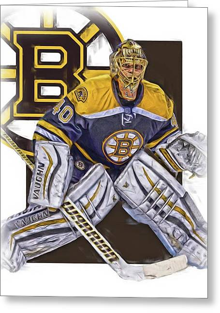 Tuukka Rask Boston Bruins Oil Art 1 Greeting Card by Joe Hamilton