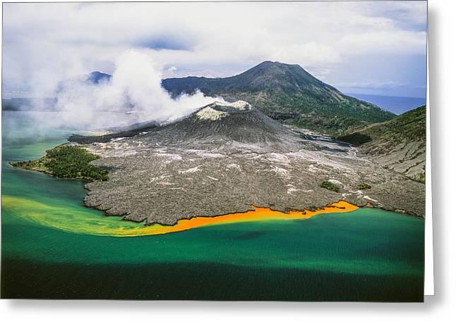 New Britain Photographs Greeting Cards - Tuvuavur Volcano  Rabaul, East New Greeting Card by David Kirkland