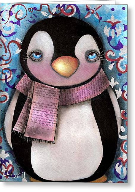 Outsider Art Paintings Greeting Cards - Tuxedo  Greeting Card by  Abril Andrade Griffith
